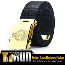 Military uniform belt with golden embossed logo buckle