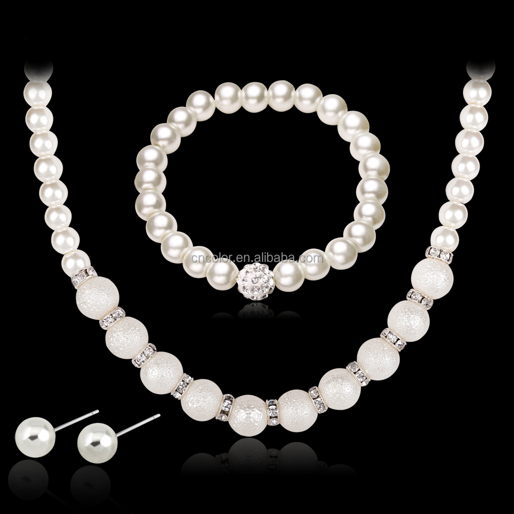 necklace earring lab created Bridal pearl Jewelery <strong>Set</strong>
