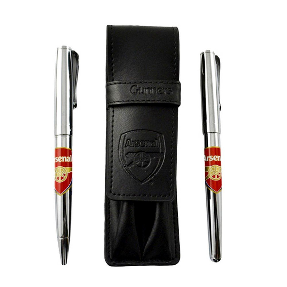 Arsenal FC Official Dual Football Crest Pen Set With Leather Case And Gift Tin (One Size) (Black/Silver)