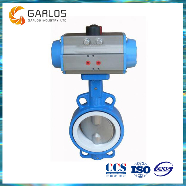 D671X Soft seal pneuamtic double acting wafer type butterfly valve