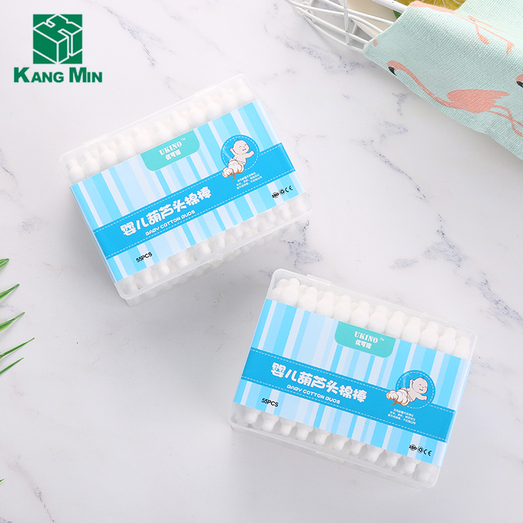 New Design High-Quality 55pcs plastic stick baby cotton swab cotton bud in pp boxes