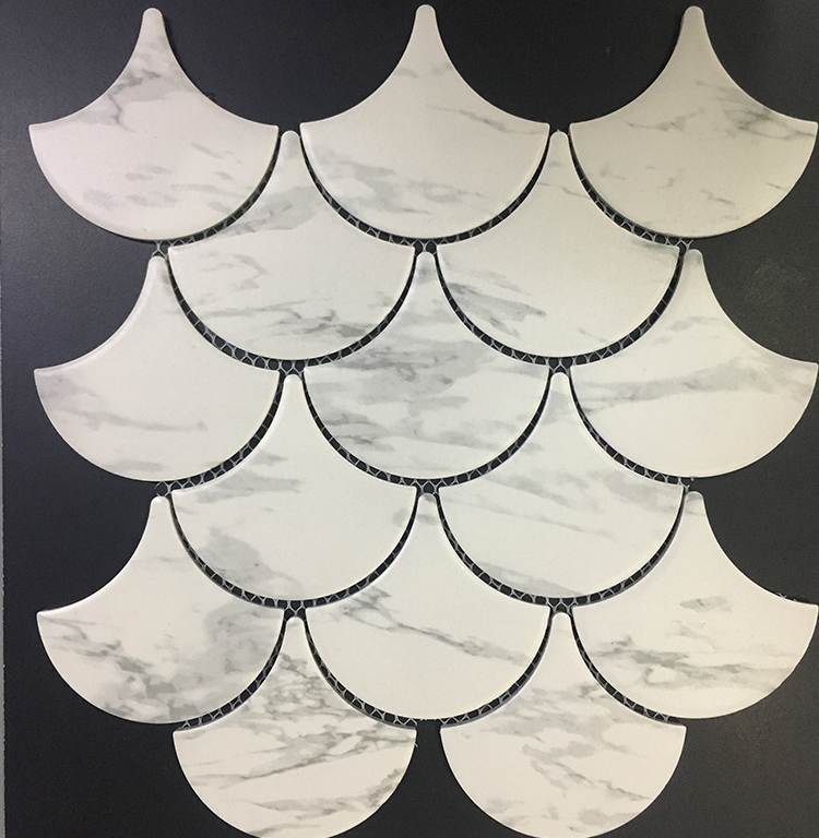 hot sale swimming pool ceramic fish scale mosaic tile high quality glossy marble look fish scale mosaic tile