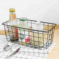 Wall mounted metal white shelf mesh wire kitchen vegetable storage basket