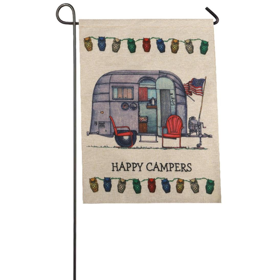 Auwer Happy Campers Pattern Garden Flag Indoor Outdoor Home Decor Car Flag Burlap Monogram Fabulous Decorative Colorful Multicolor Garden Flag 12.6 x 18 Inches (F)