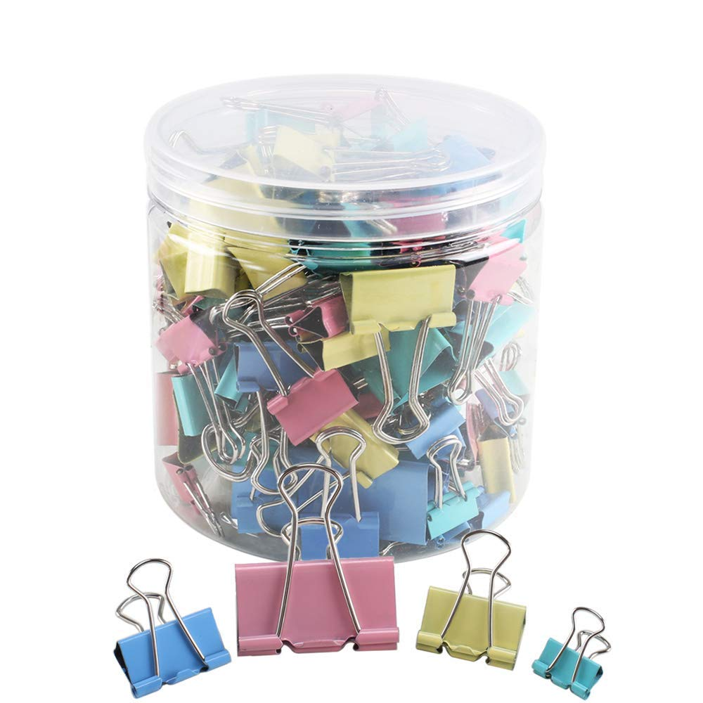 FOGAWA 110 PCS Heavy Duty Colored Metal Assorted Color Office Foldback Paper Binder Clips File Binder Paper Clip Clamp Organizer Set Binder Paper Clips Metal Fold Back Clips