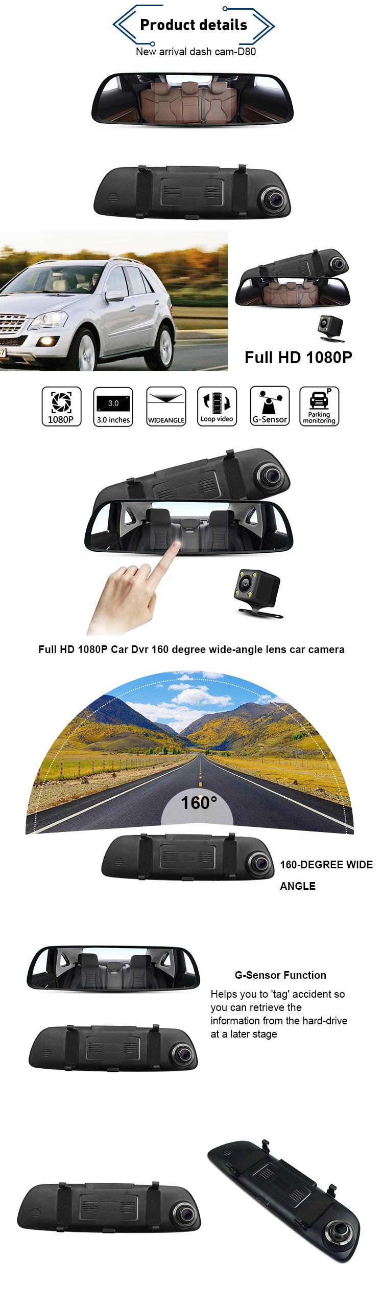 2.0M 150 degree full HD 1080p 5.0''IPS Touch screen black box dash cam adas radar detector with car dvr camera