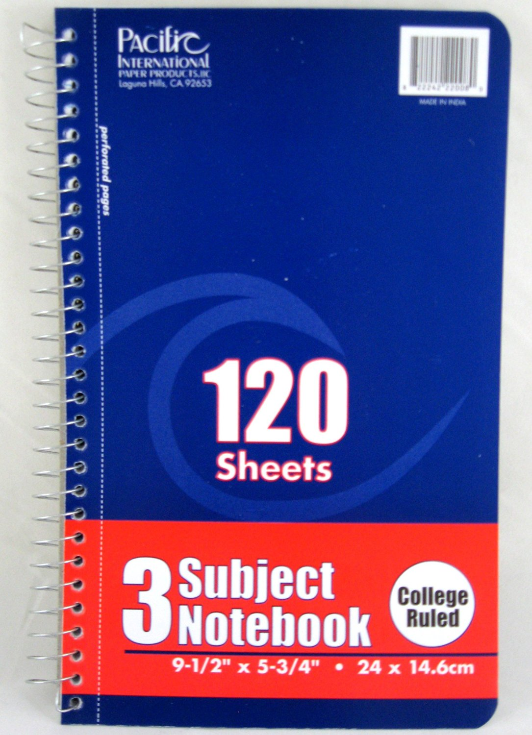 "3 Pk, 3 Subject Notebook College Ruled 120 Sheets (3-1/2"" X 5-3/4"")"