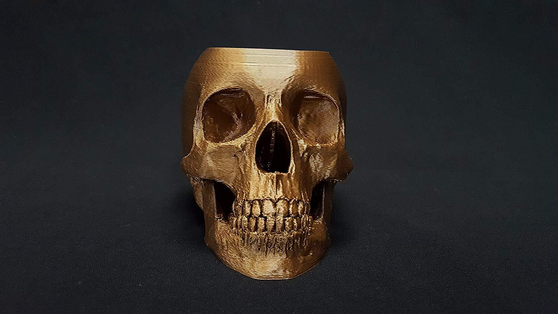 3D Printed Skull Flower Pot by 3D Cauldron (Copper)