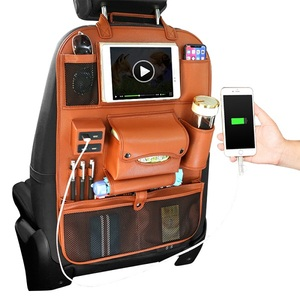 2018 New Leather Auto Car Back Seat Organizer With 4 USB Charging