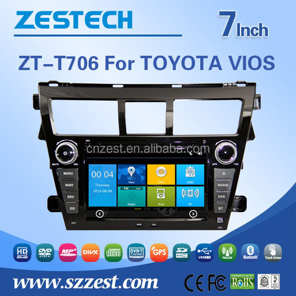 ZESTECH touch screen car dvd gps for Toyota vios with External Microphone GPS DVD FM/AM Support IPOD USB/SD BT Multi-language