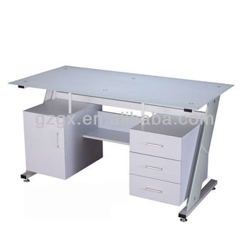 gx 608 modern white glass top office small reception desks Glass Desk Office Depot Glass Desks for Home Office