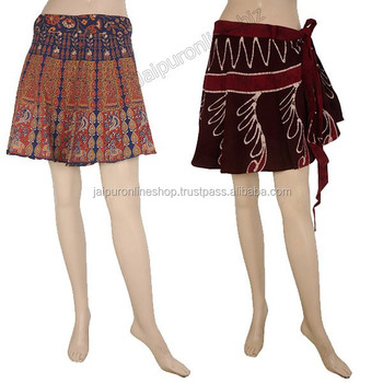 Indian Short Gypsy Bohemian Wrap Skirt Hippie Cotton Midi Knee ...