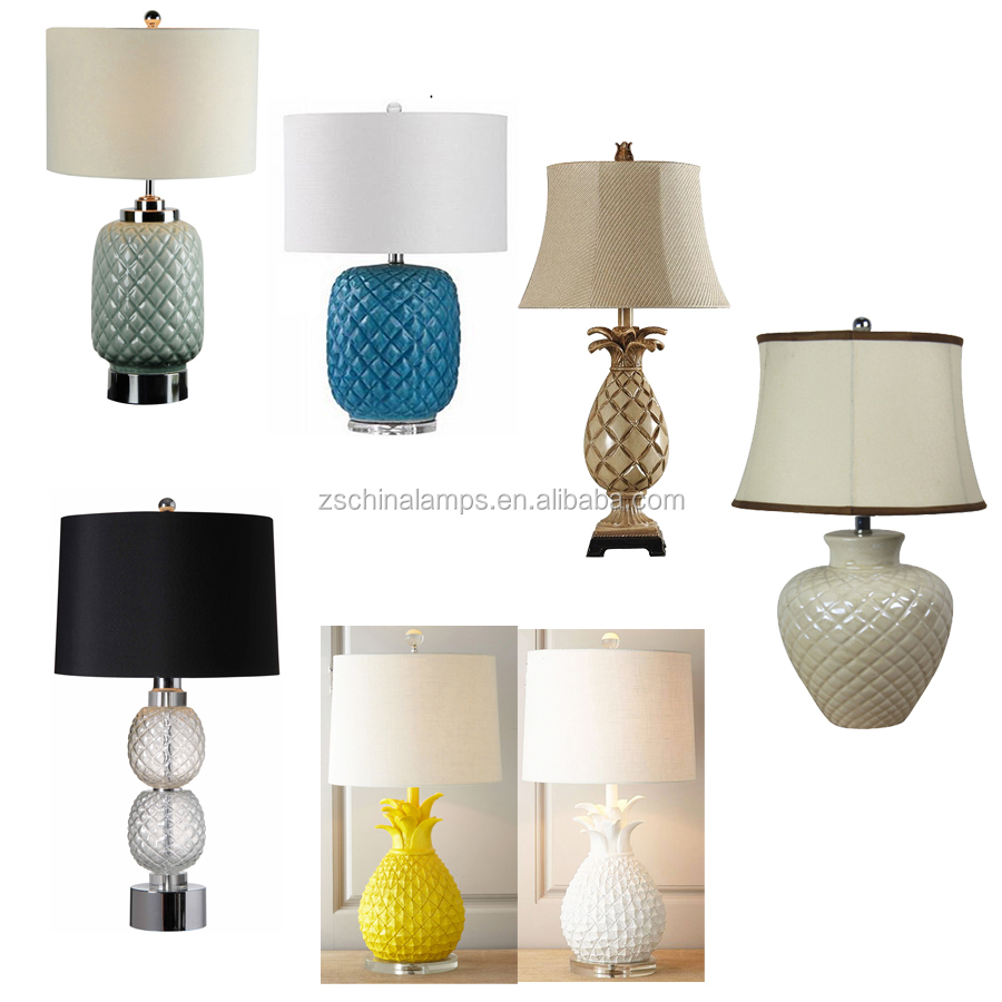 Small Moq Blue Pineapple Modern Chinese Style Table Lamp With ...