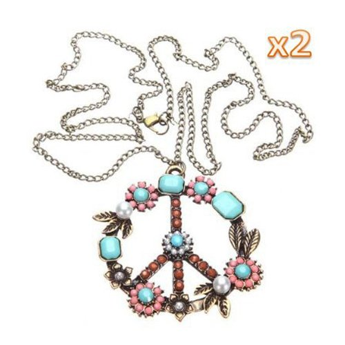 Molyveva Peace Pendant Necklace Classic Peace Sign Love Hippie Braided Leather Cord Rope Chain Necklace