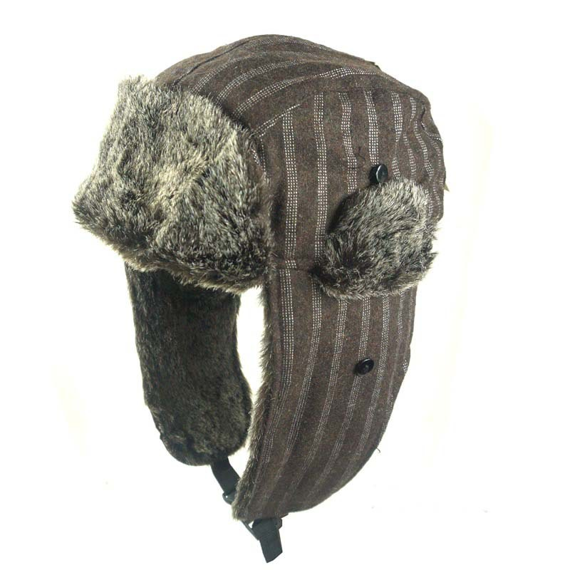 Ushanka City Hunter Checkered Jacquard Trapper Bomber Cap Hat Faux Fur Earflap Cap Mens Fur Hats