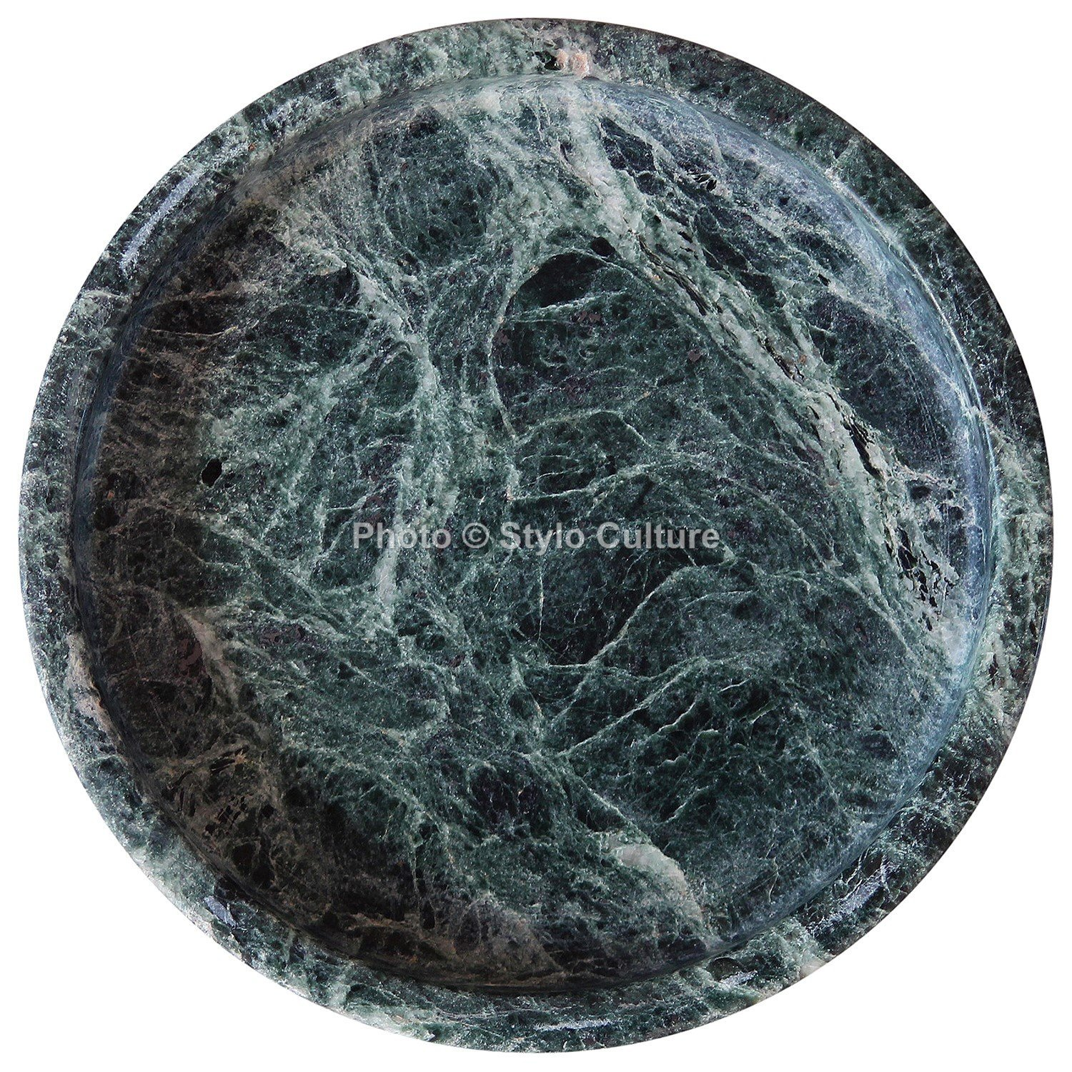 Stylo Culture Indian Unjoined Green Marble Round Tray For Bathroom Coffee Table Tray Scented Candle Base Handmade Gift Perfume Tray Soap Bar Marble Vanity Bathroom Tray (2.5x14.5 cm) By