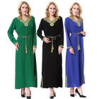 Lady Loose V-Neck Embroidered Half sleeve Ethnic Muslim Dress