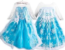 2015 elsa meninas Cosplay neve traje rainha princesa anna vestido crianças vestidos de festa fantasia vestido infantis Menina
