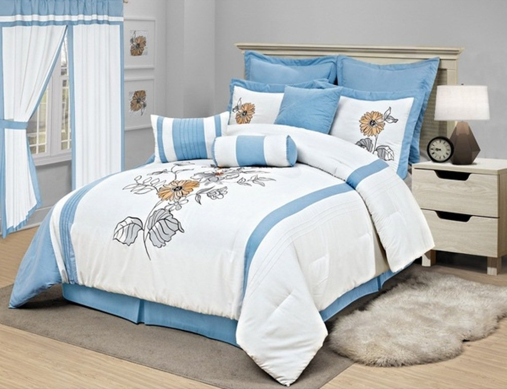 8 Piece Girls Floral Comforter Queen Set, Pretty Embroidered Flower Bedding, Chic Vertical Stripe Flowers Themed, Plush Diasy Sunflower Leaf Pattern, Pastel Sky Light Baby Blue Off White Yellow Orange