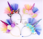 Unicorn Headband Cute Cat Ears Kids Hair Accessories New style Cosplay Chiffon Rainbow Headwear For Birthday Party Children