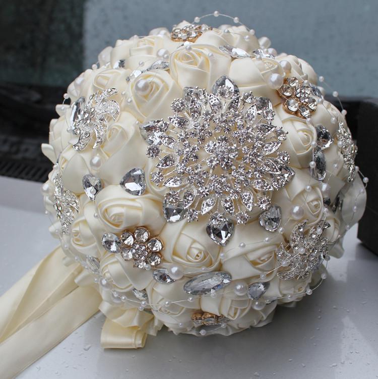 Wedding Flowers Bouquet Prices: Best Selling Price Ivory Cream Brooch Bouquet Wedding