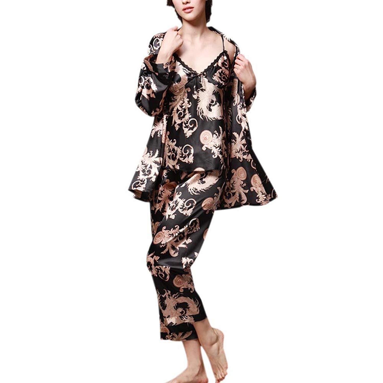 Get Quotations · Hankyky Womens Pajamas 3PCs Suit Silk Satin Dragon Print Pajamas  Set Sleepwear cfbd3e8f4