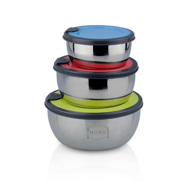 Korean 3PCS stainless steel airtight food storage container with colorized lid