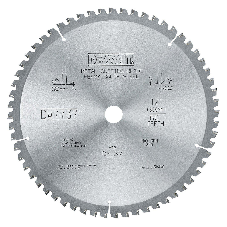 DEWALT DWA7737 60 Teeth Heavy Gauge Ferrous Metal Cutting 1-Inch Arbor, 12-Inch