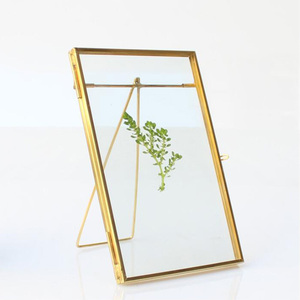 Simple 4x6inch Glass Floating Picture Frame Metal Table Top Wedding Photo Frames