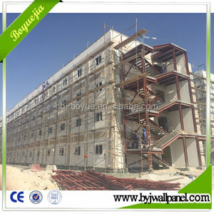 Lightweight fireproof sound insulated eps cement sandwich wall panel for prefabricated steel frame apartment building