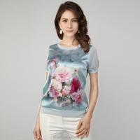 factory direct digital printing short sleeves silk blouse in stock NO MOQ