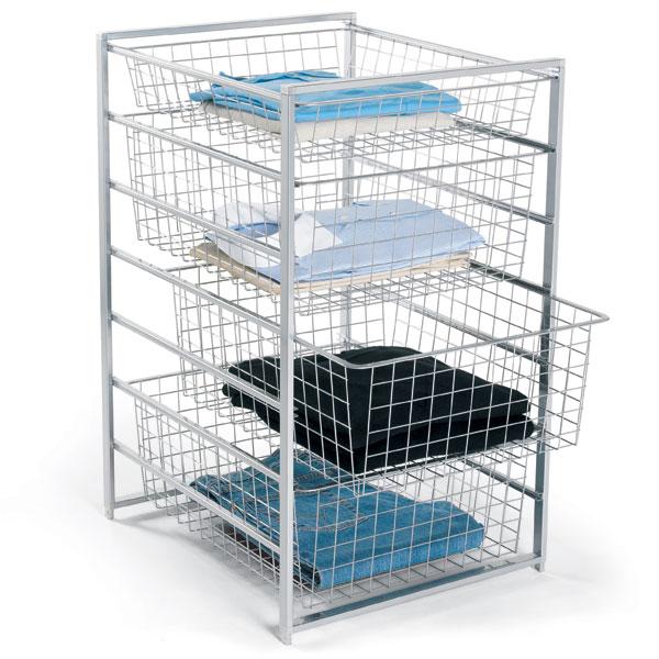 Wire Mesh Wardrobe Trolley Basket Set Organizer