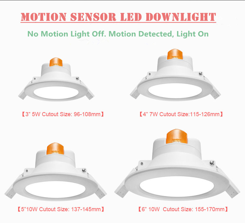 "3 years warranty 2.5"" LED Recessed Downlight with Built-in Microwave Sensor"