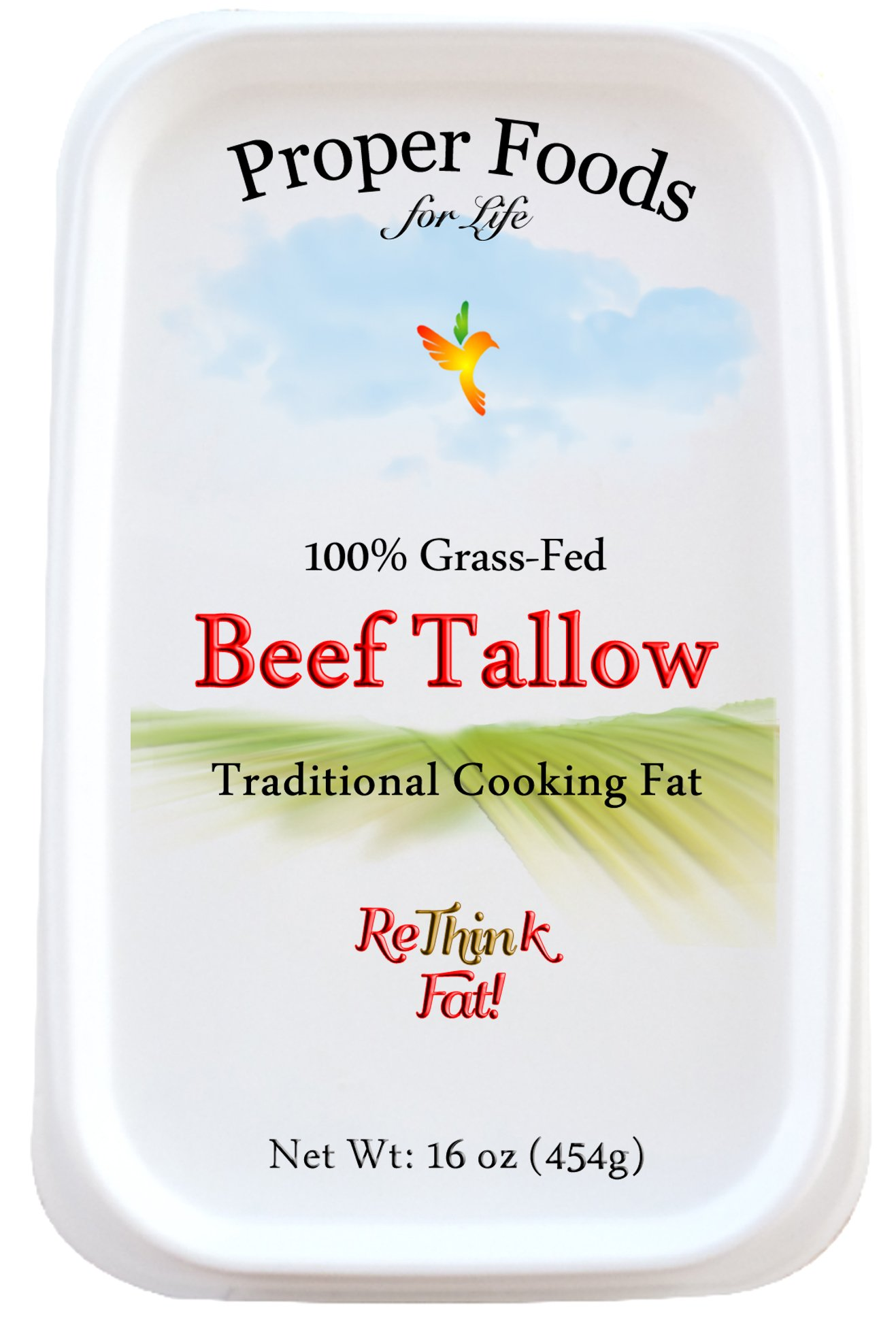 Grass-Fed Beef Tallow, All Natural, Kettle Rendered, Traditional Cooking Oil, 16 oz