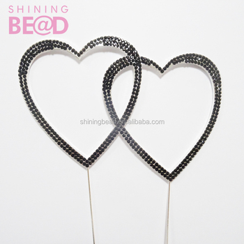 Black Double Heart Shape Wedding Cake Topper Figurines For Cakes