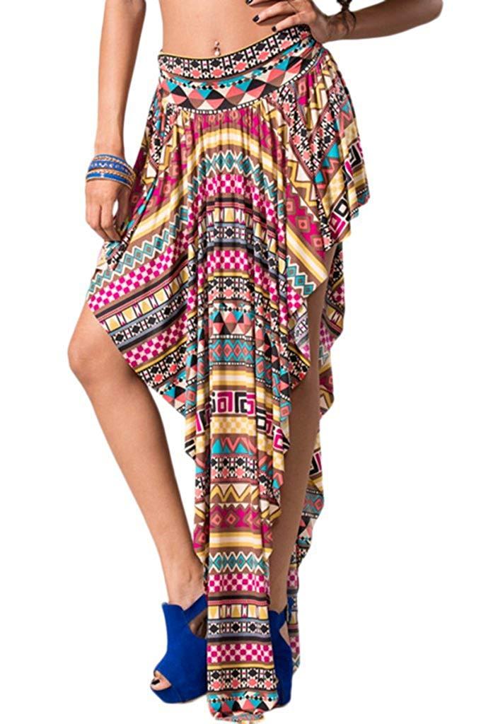 44009a94c7 Get Quotations · SurelyMine Womens High Waist Asymmetrical Cut Maxi Skirt  With Unique Print