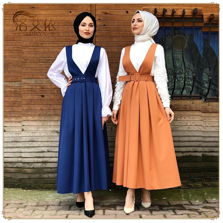 2019 High Quality Summer Fashion Muslim  Polyester Suspender Skirts Maxi Skirts