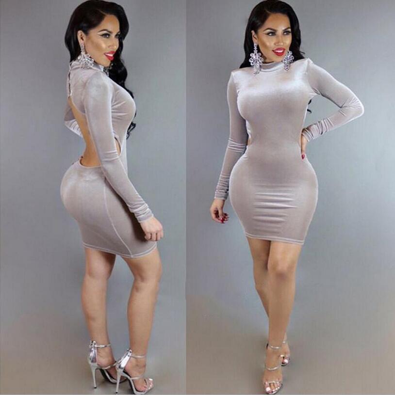 9d1059d29 Moda mujer Club Bodycon vendaje ropa fiesta cóctel Mini vestidos Sexy corte  gris de manga larga