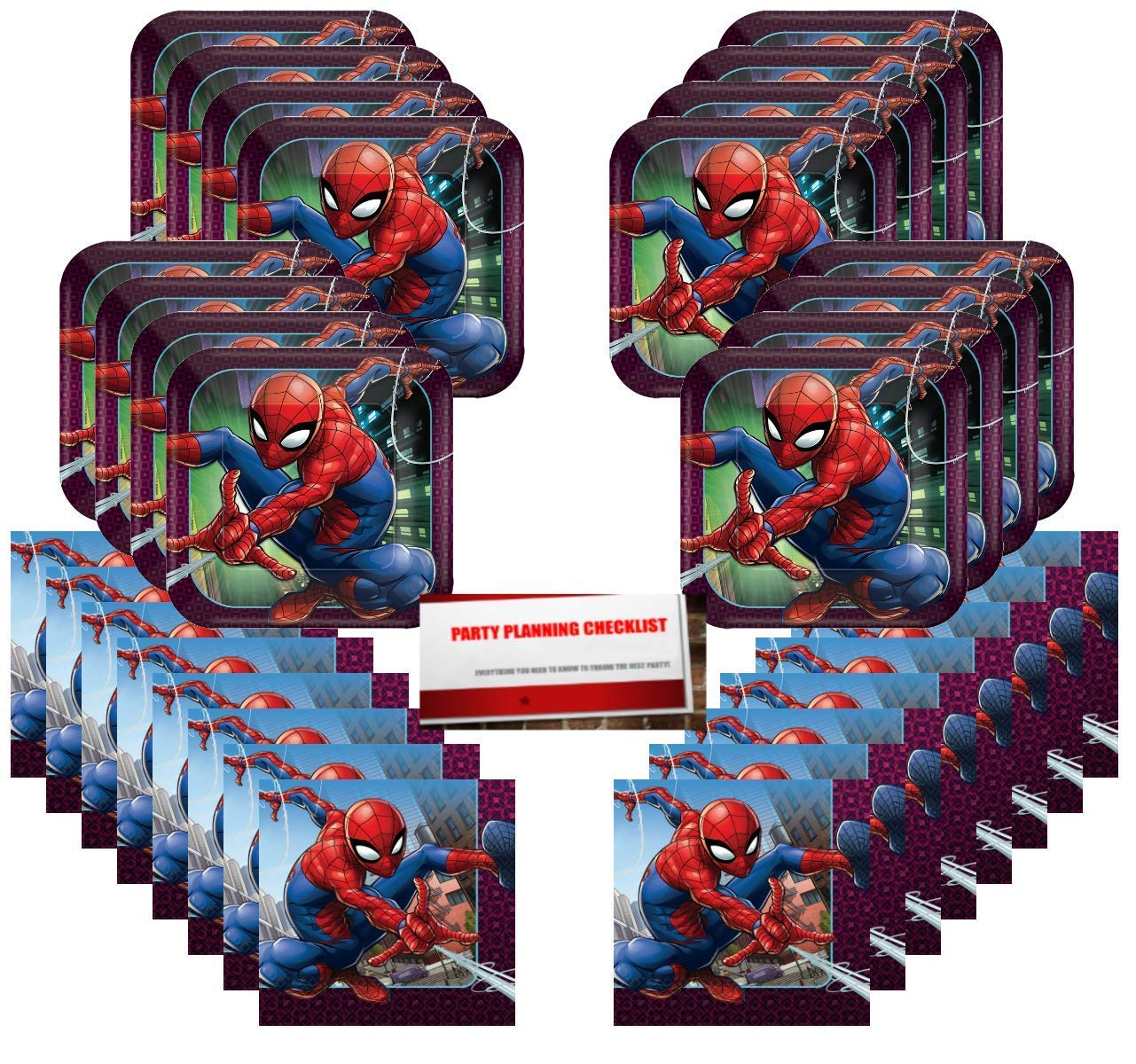 Spider-Man Party Supplies Bundle Pack for 16 Guests (Plus Party Planning Checklist by Mikes Super Store)