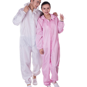 Adult pink mechanic coveralls with safety boots for cleanroom ,electronic ,chemical industry