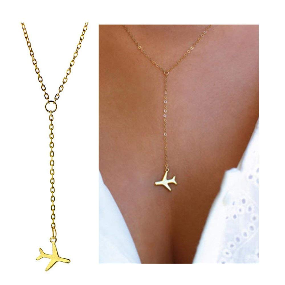 palettei Tiny Airplane Pendant Y Necklace - Simple Flying Airplane Pendant Long Chain Necklace for Girl and Women