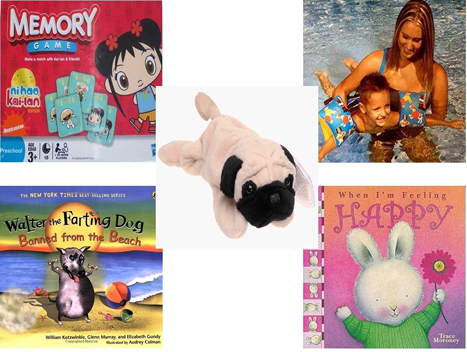 Children s Gift Bundle - Ages 3-5  5 Piece  - Ni Hao Kai-Lan Edition Memory  Game - Arm Bands for Swimming Pug Design Toy - TY Beanie Baby - Pugsly the  Pug ... 1c5fda427c