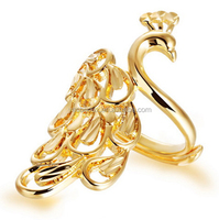yellow gold plated big peacock shaped ring