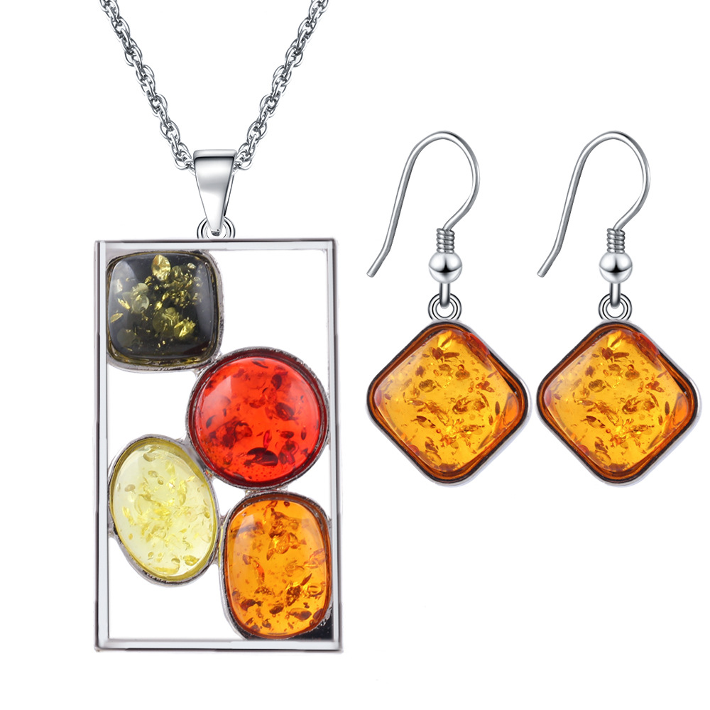 Artilady models beeswax color insect amber necklace earring jewelry set