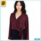 High Quality Women's Long Sleeve v Neck Blouse With Wholesale Price /Tunics And Kaftans