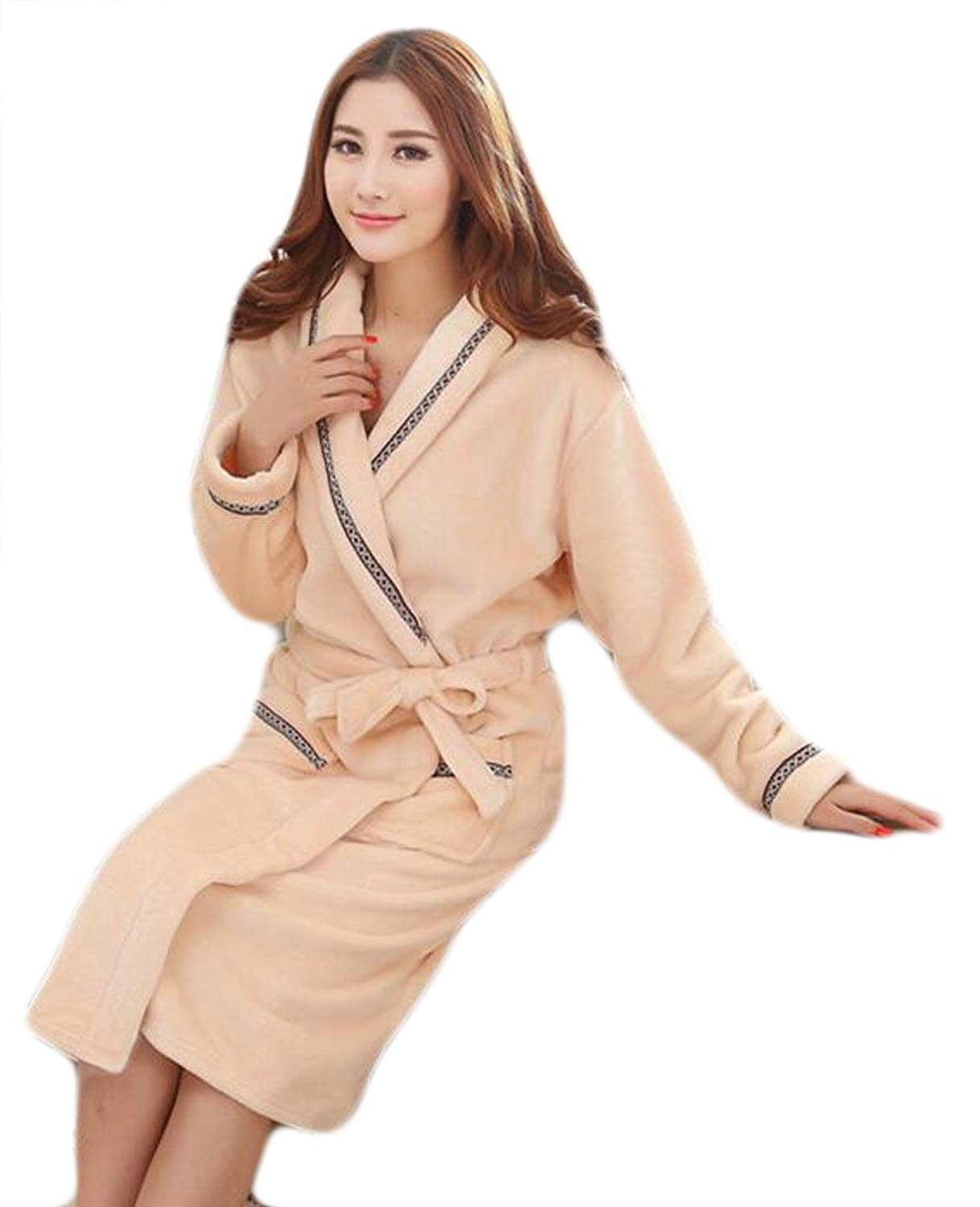 efd275ea2b Get Quotations · Jmwss QD Womens Velvet Bathrobe Soft Warm Spa Robes  Loungewear