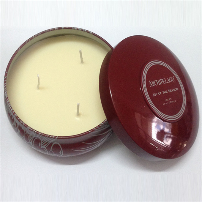 scented organic soy metal tin candles oem