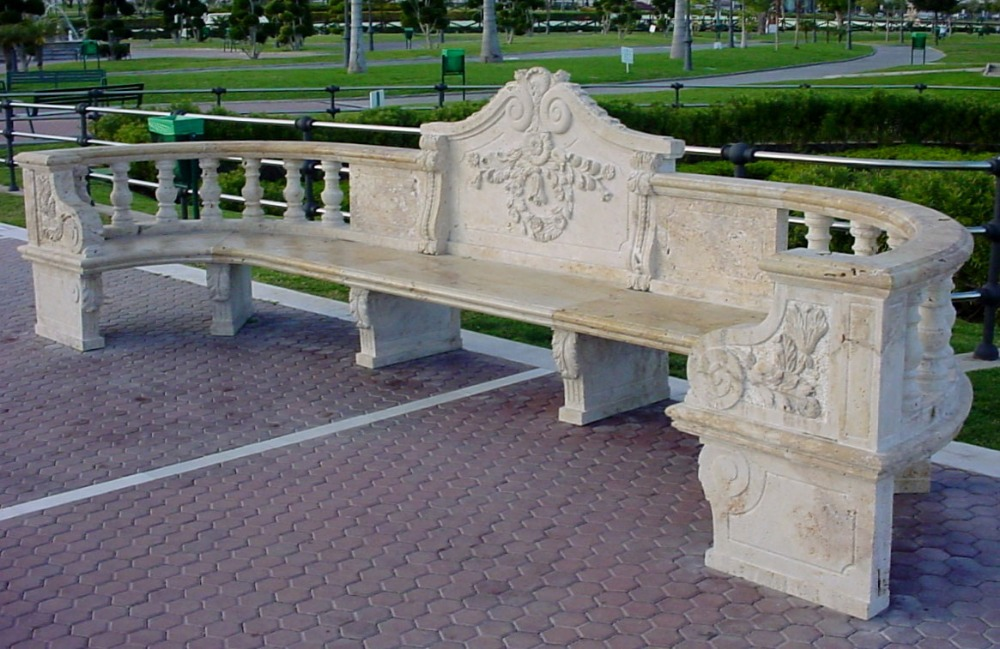 hand carved garden stone bench with back for sale
