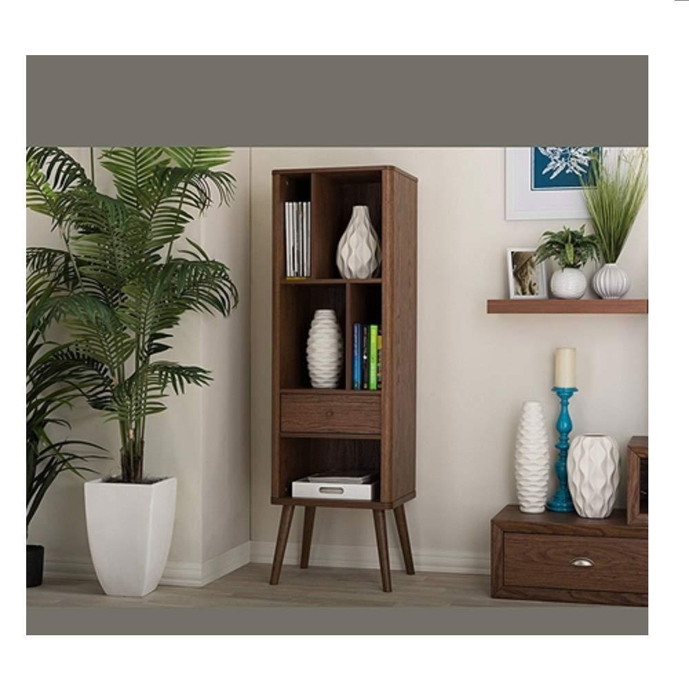MyEasyShopping Mid-Century Modern Bookcase Display Shelf in Walnut Wood Finish Storage Bookshelf Wood Shelves