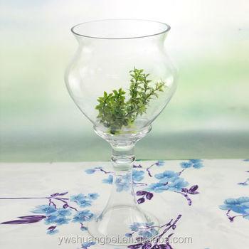 Wholesale Handmade Long Stemmed Glass Vases Clear Tall Glass Vase
